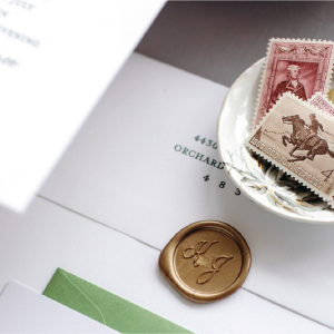 Gold wax seal with monogram - Invitation embellishments to take your stationery over the top - Leah E. Moss Designs
