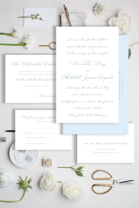 Dusty blue and pale blue invitation - all script, Affordable wedding invitations with calligraphy and customizations available - shop online with Leah E. Moss Designs