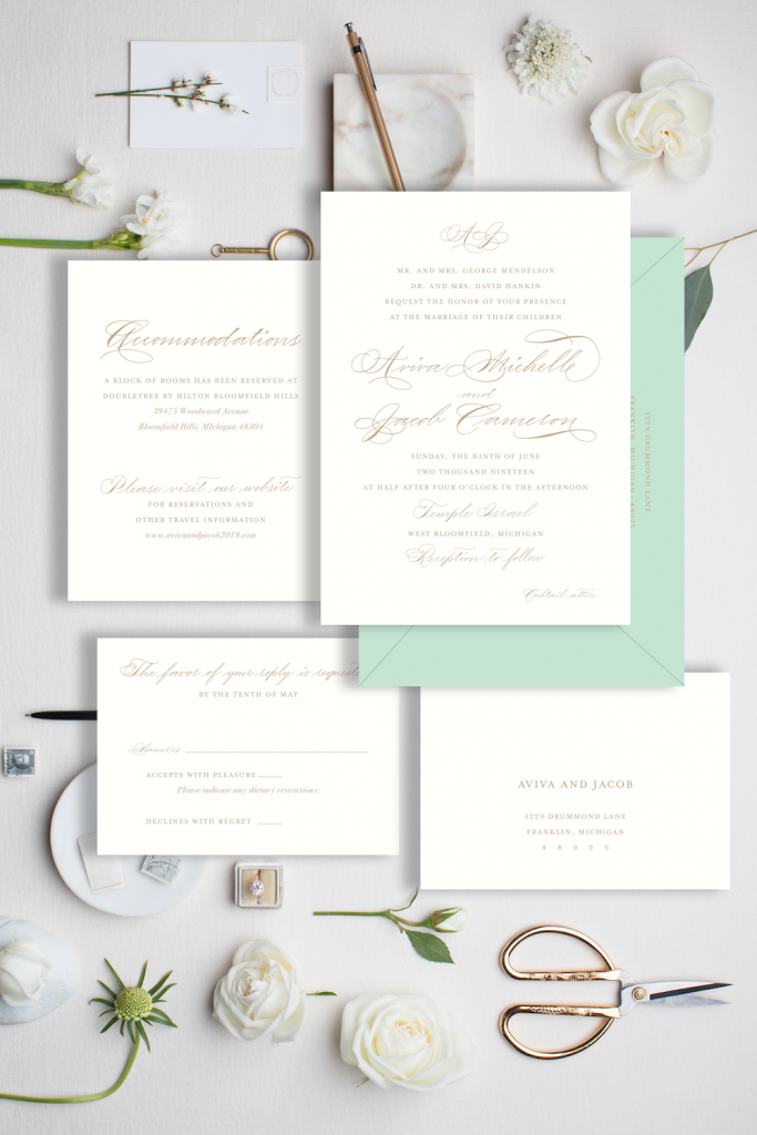 Tan and light green invitation with Spencerian - Affordable wedding invitations with calligraphy and customizations available - shop online with Leah E. Moss Designs