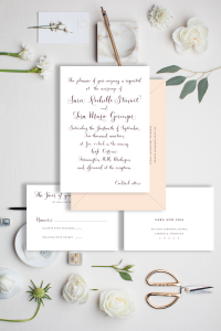 Burgundy and blush wedding invitation with modern calligraphy - Affordable wedding invitations with calligraphy and customizations available - shop online with Leah E. Moss Designs