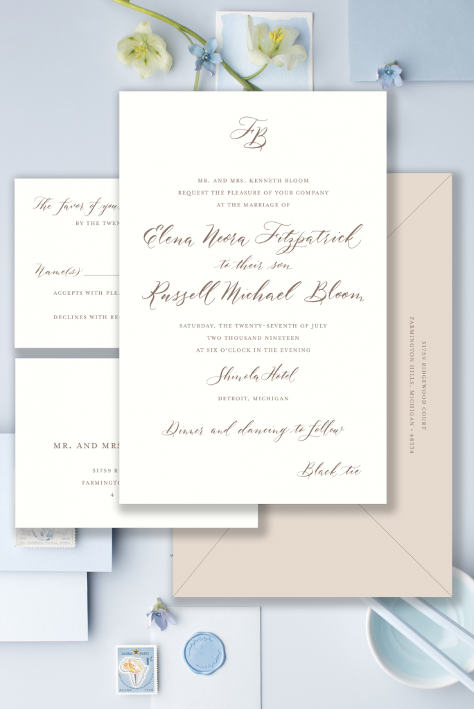 Brown and taupe monogram wedding invitation - Affordable wedding invitations with calligraphy and customizations available - shop online with Leah E. Moss Designs