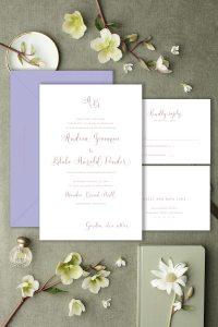 Dusty rose and lavender invitation, modern script Affordable wedding invitations with calligraphy and customizations available - shop online with Leah E. Moss Designs