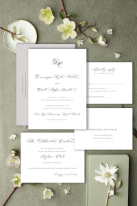 Charcoal grey elegant and Affordable wedding invitations with calligraphy and customizations available - shop online with Leah E. Moss Designs