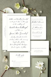 Navy wedding invitation with modern calligraphy - Affordable wedding invitations with calligraphy and customizations available - shop online with Leah E. Moss Designs