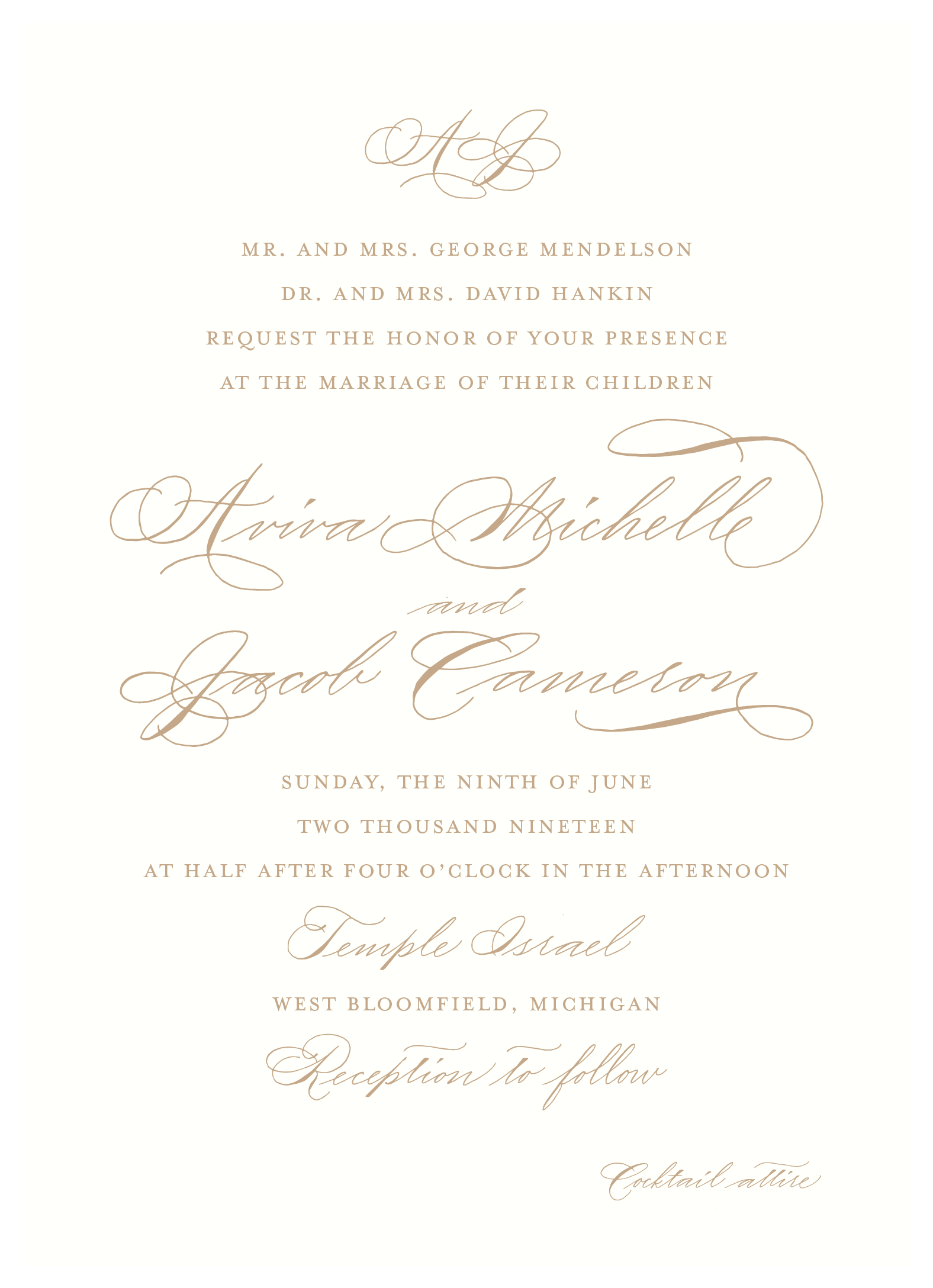 Tan wedding invitation with traditional monogram and calligraphy from Leah E. Moss Designs