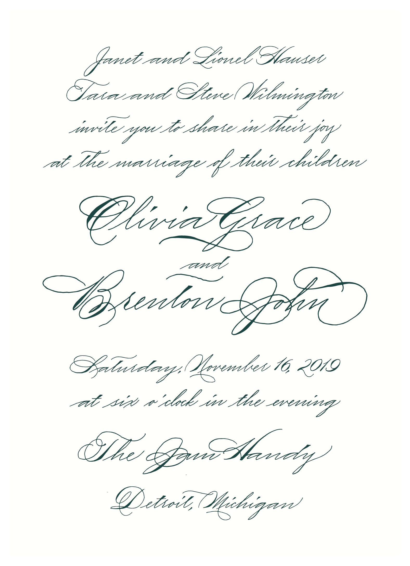 Forest green wedding invitation with traditional calligraphy from Leah E. Moss Designs