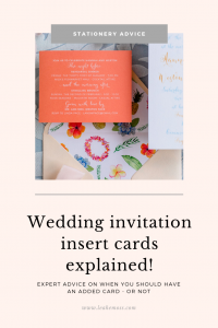 Wedding invitation insert cards explained by an expert - Leah E. Moss Designs