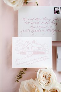 Added card with venue illustration detail - Leah E. Moss Designs