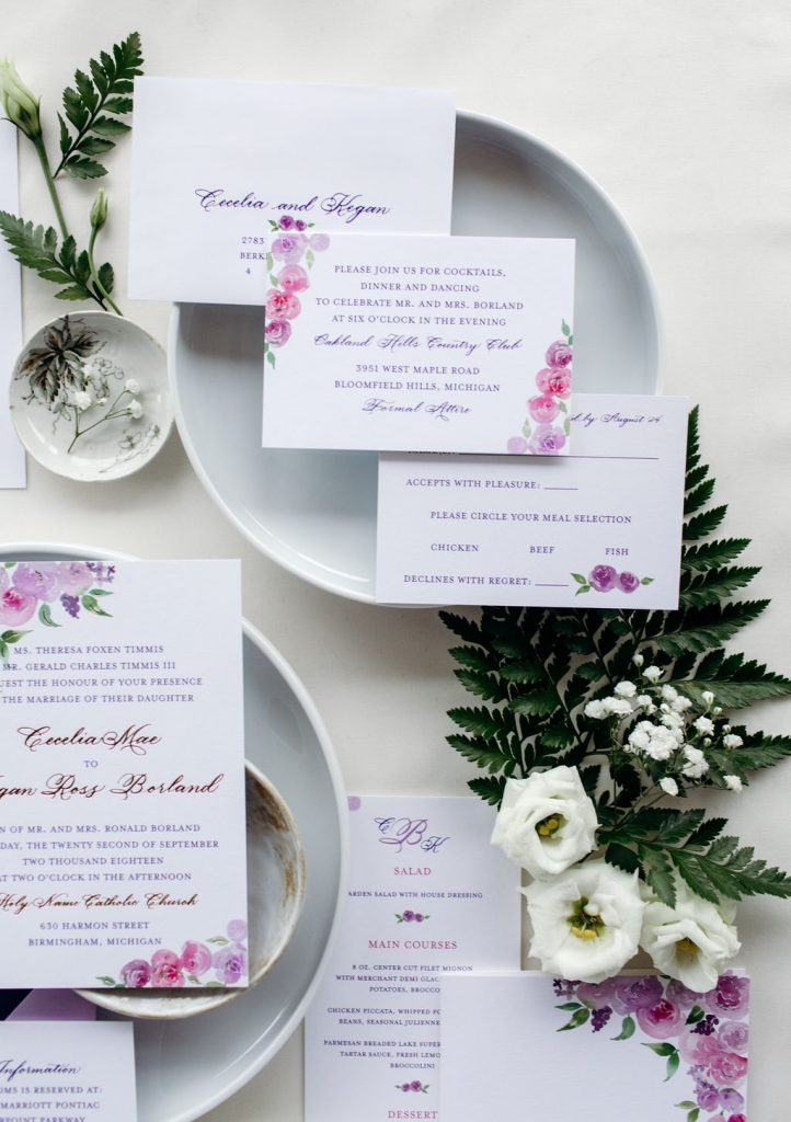 Added card for reception at Oakland Hills Country Club - Leah E. Moss Designs