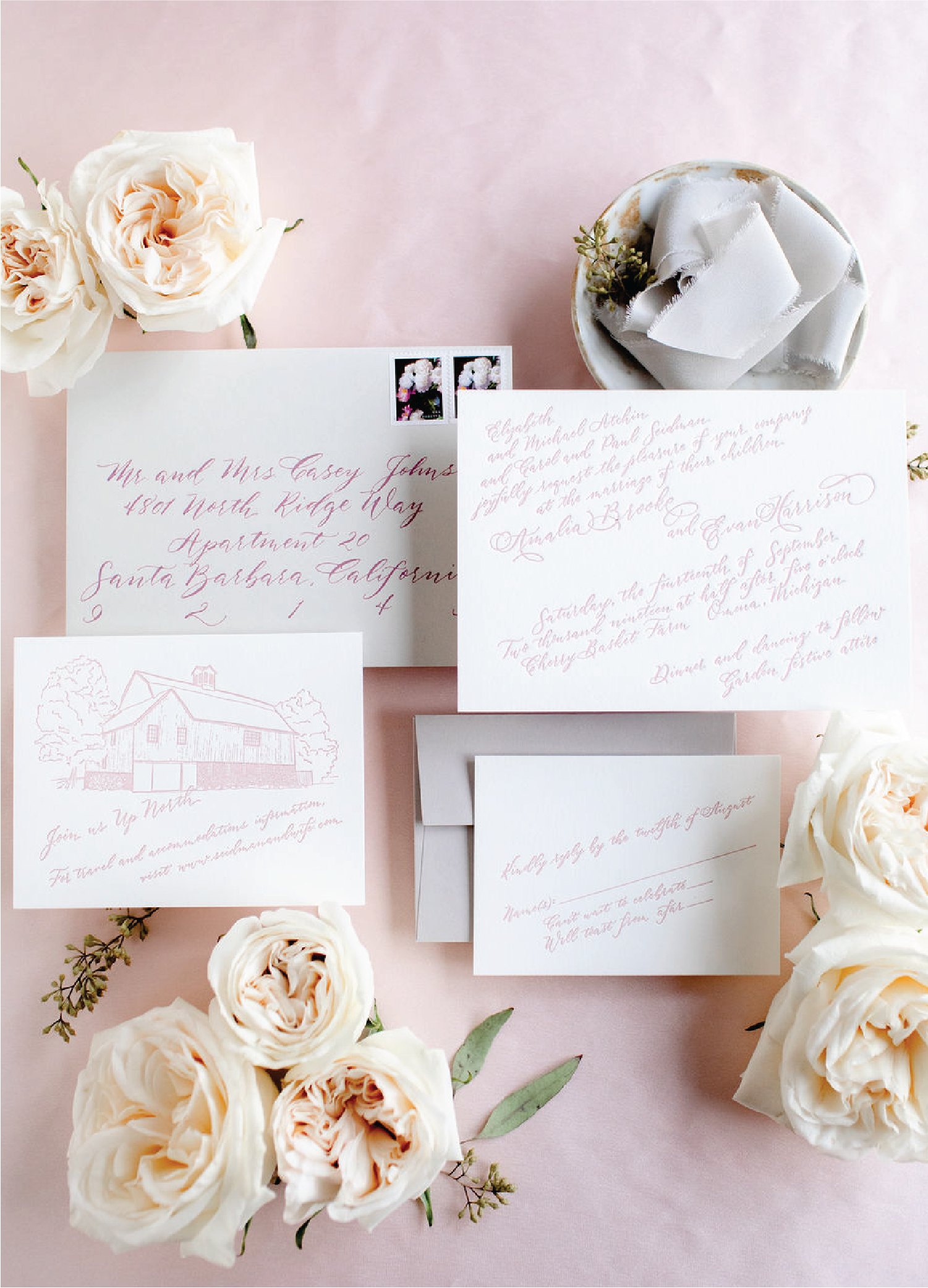 Wedding stationery tips - Dusty rose letterpress wedding invitations with calligraphy by Leah E. Moss Designs for Cherry Basket Farm in northern Michigan - up north wedding