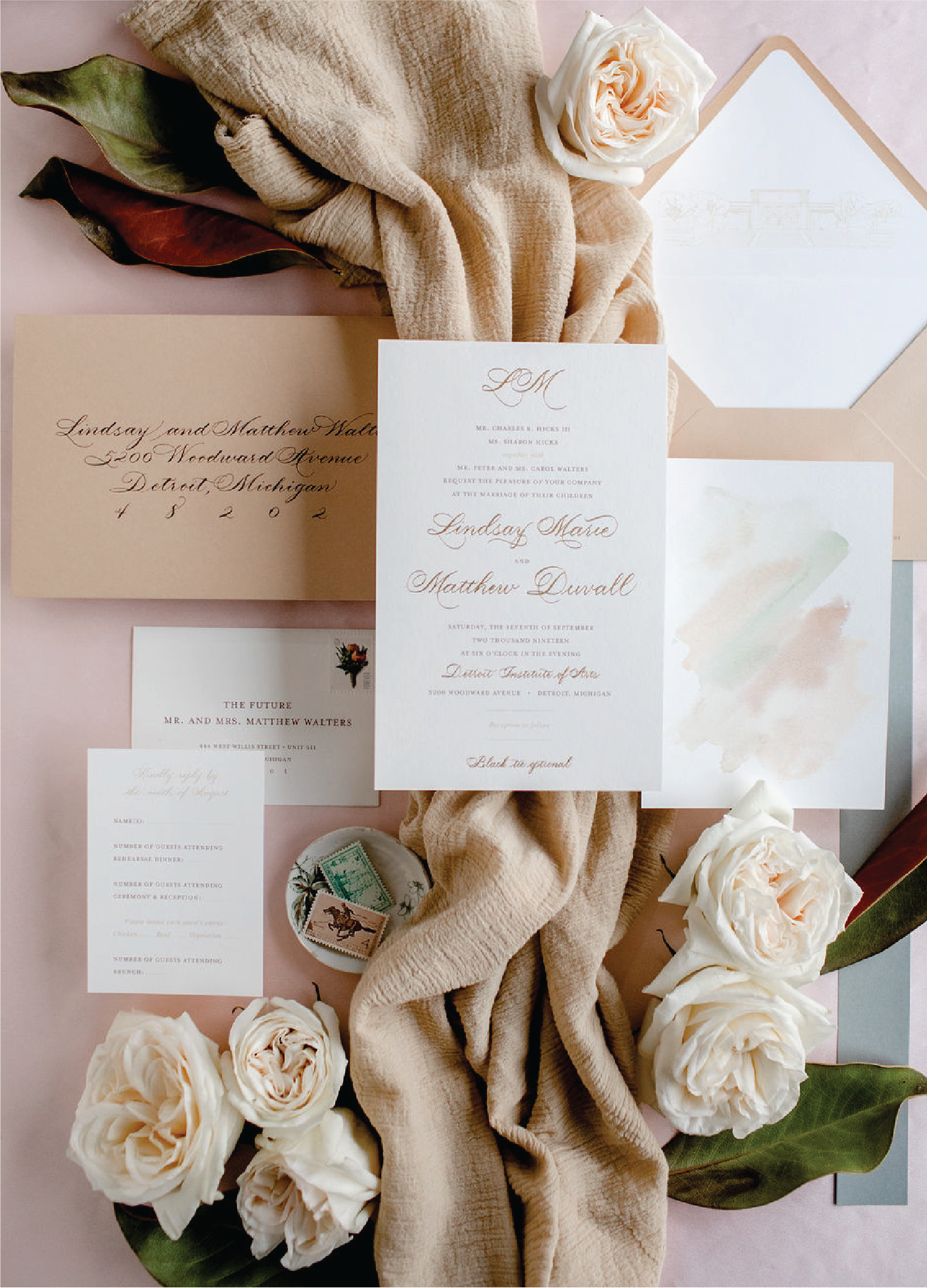 Taupe gold and sage green wedding invitations with calligraphy by Leah E. Moss Designs for Detroit Institute of Arts wedding