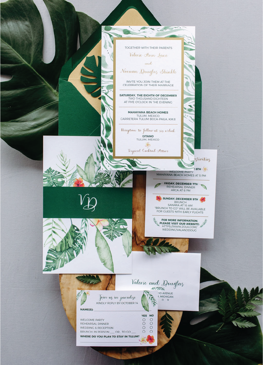 Tropical jungle watercolor wedding invitations with calligraphy by Leah E. Moss Designs
