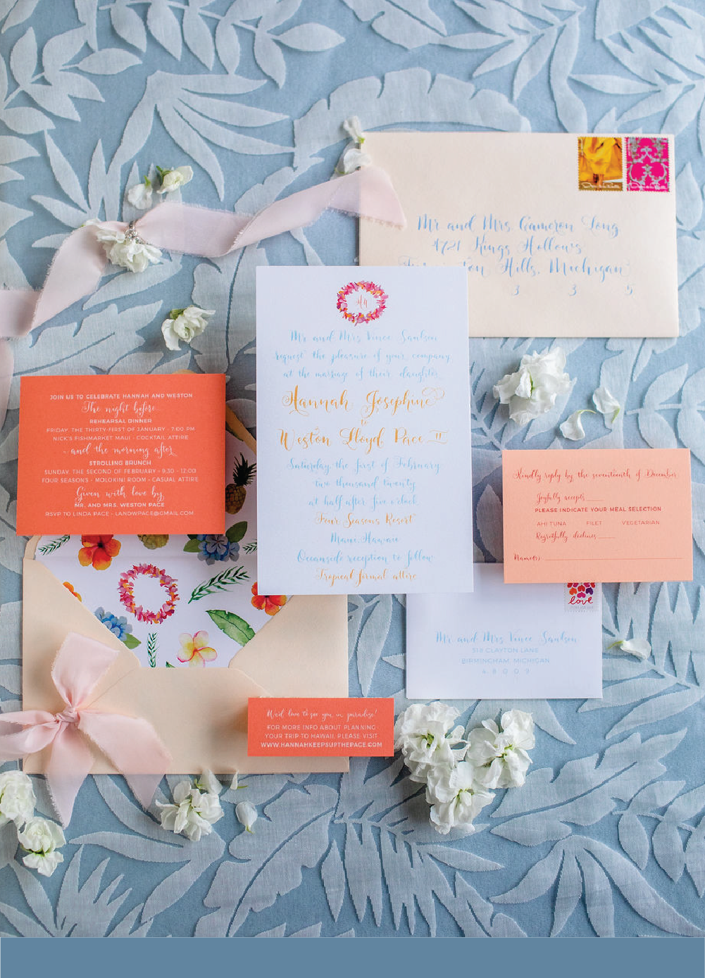 Coral and peach modern wedding invitations with calligraphy by Leah E. Moss Designs for wedding at Four Seasons Maui Hawaii
