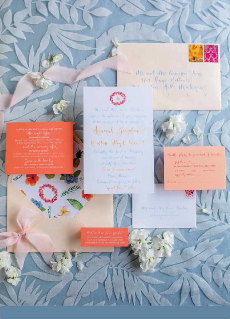 Custom wedding invitations designer - Leah E. Moss Designs, photo by Casey Brodley