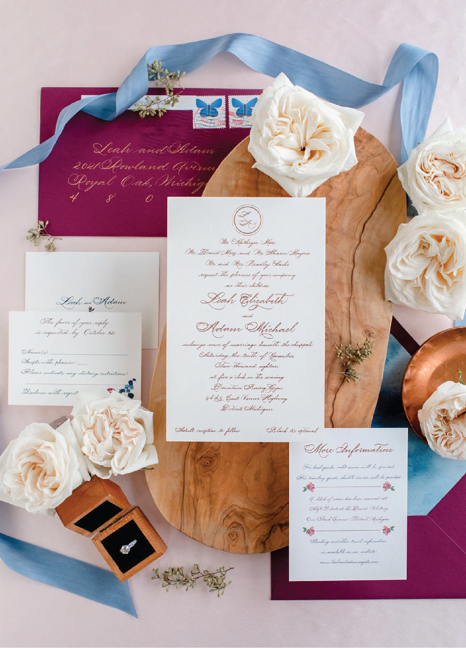 Classic elegant script wedding invitations with calligraphy by Leah E. Moss Designs