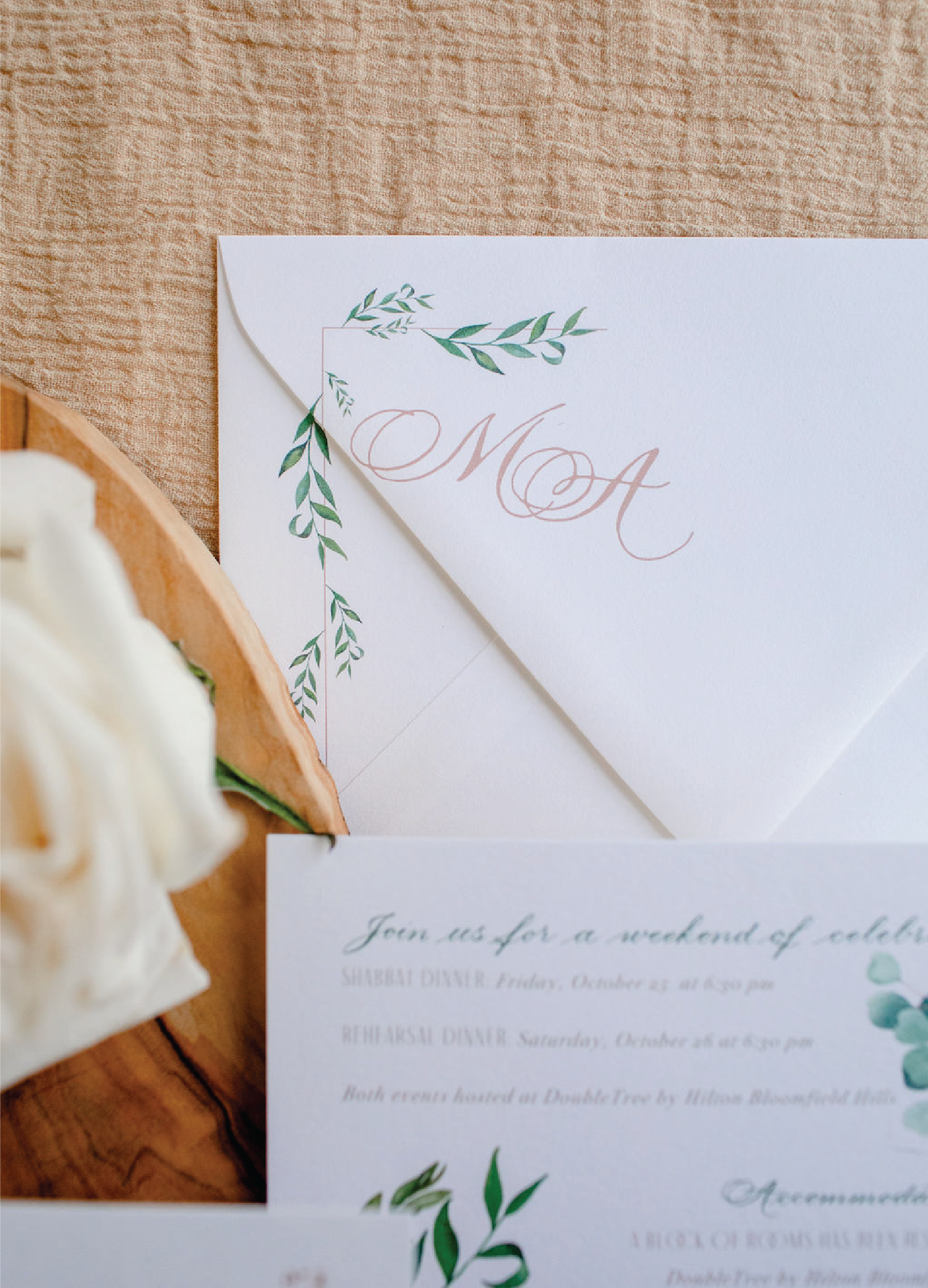 Envelope detail on wedding invitations with calligraphy by Leah E. Moss Designs
