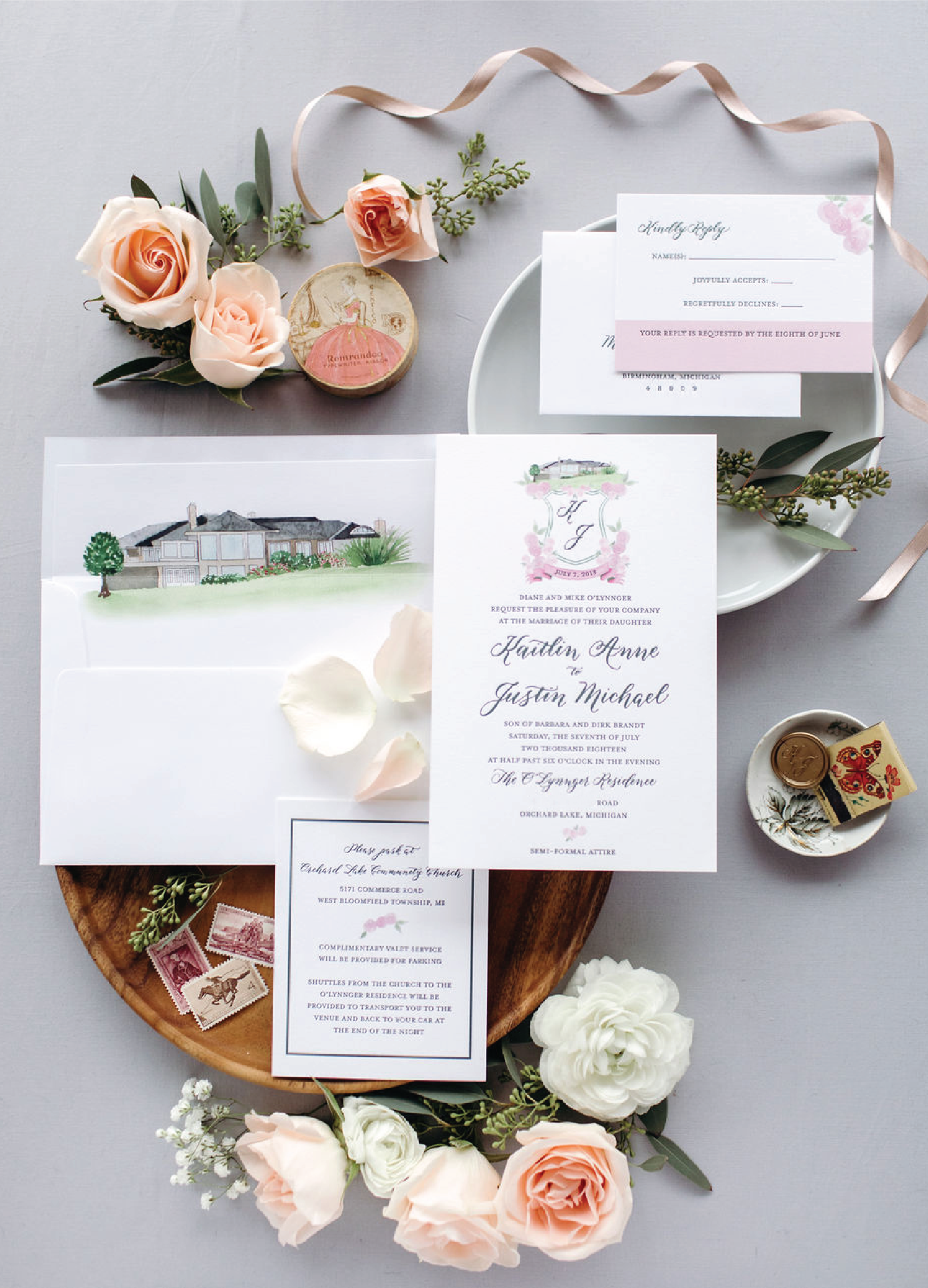 Green and pink wedding invitations with calligraphy and watercolor home illustration by Leah E. Moss Designs