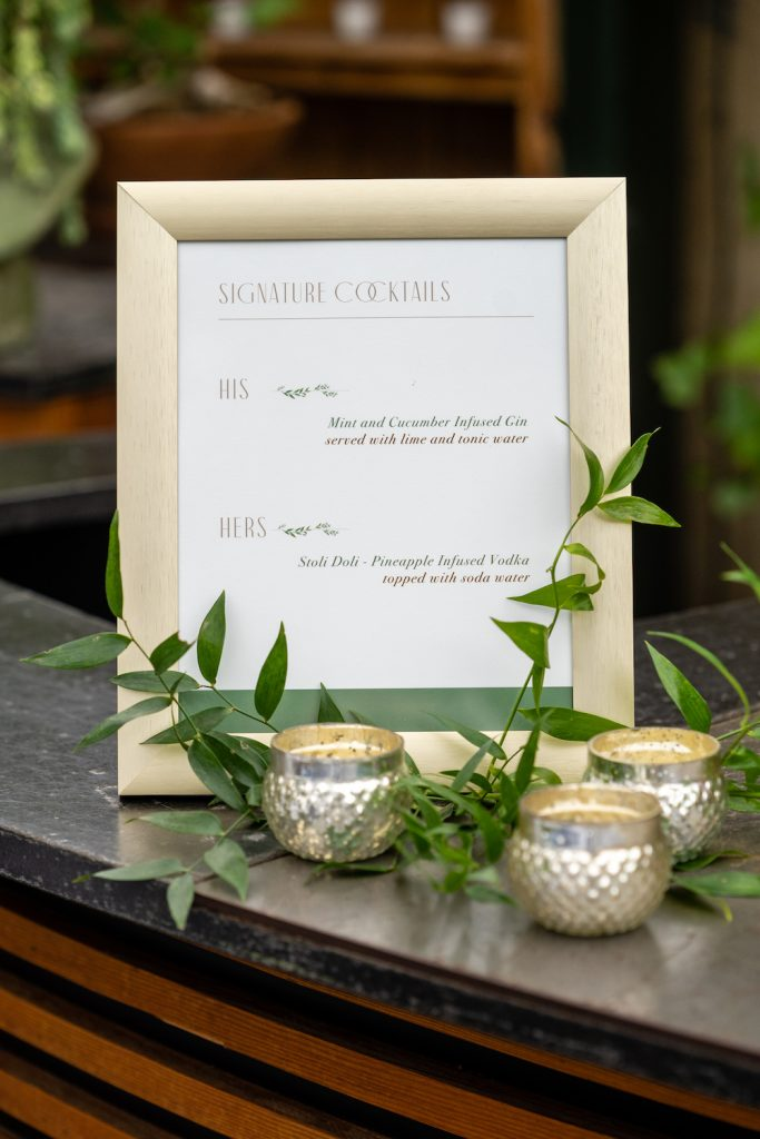 Signature drinks sign - Greenery-filled Planterra wedding - Leah E. Moss Designs