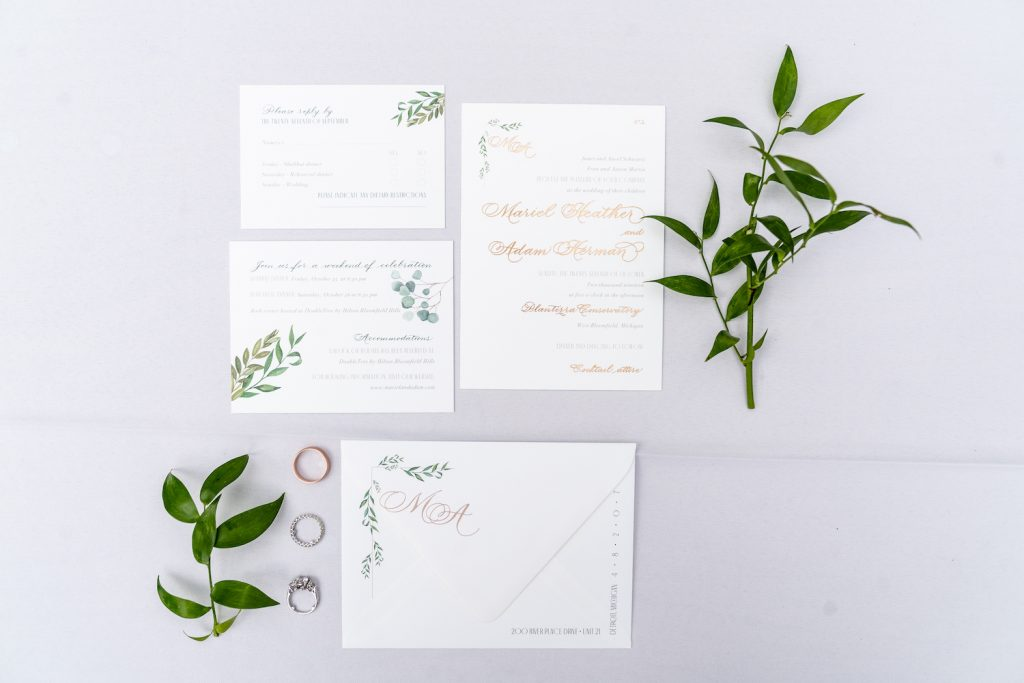 Invitation with greenery and rose gold foil stamping - Greenery-filled Planterra wedding - Leah E. Moss Designs