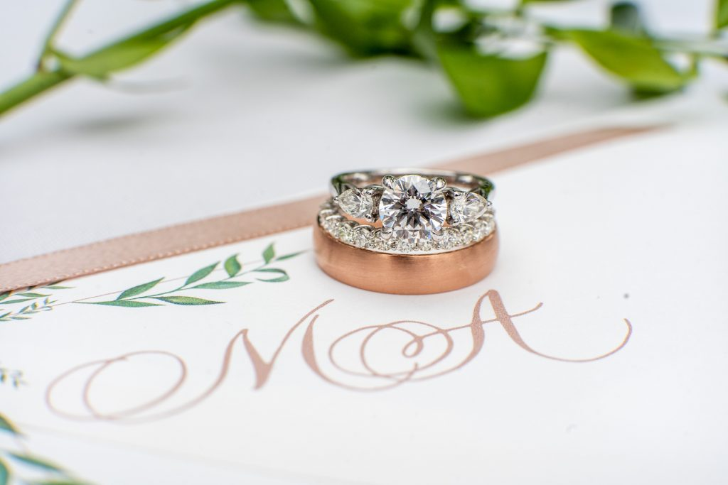 Wedding rings with couple's monogram - Greenery-filled Planterra wedding - Leah E. Moss Designs