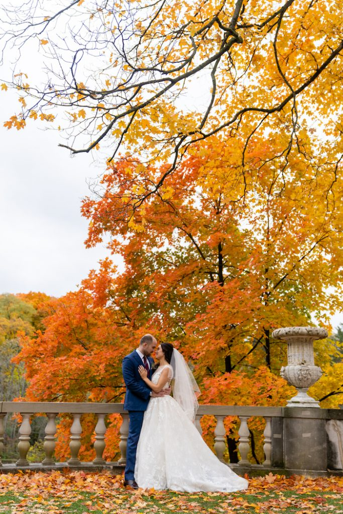 Gorgeous fall leaves with large tree - Greenery-filled Planterra wedding - Leah E. Moss Designs