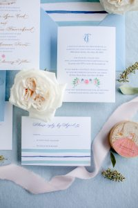 Flower and stripe preppy wedding invitation with digital printing and calligraphy - Wedding Invitation Printing Options - Leah E. Moss Designs