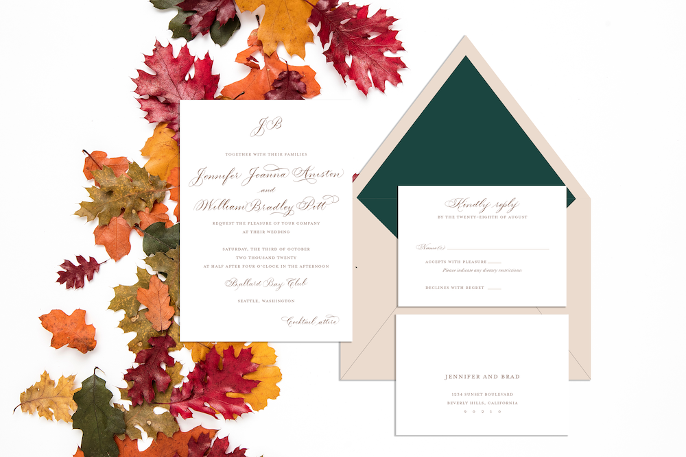 Wedding invitations for every season - fall wedding with brown, taupe, forest green invitation with calligraphy - Leah E. Moss Designs, available now for purchase online