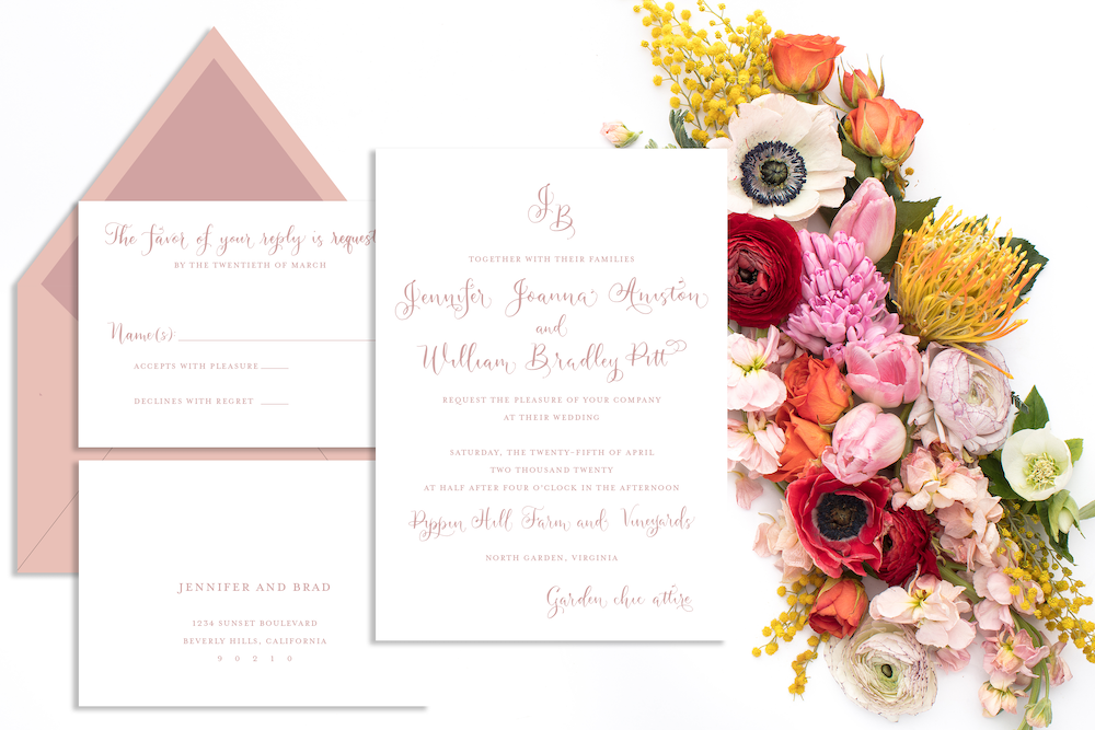 Wedding invitations for every season - spring wedding with dusty rose invitation with calligraphy - Leah E. Moss Designs, available now for purchase online
