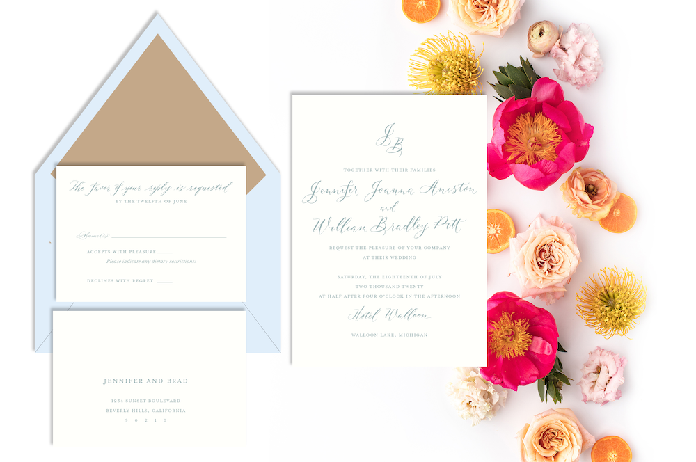 Wedding invitations for every season - summer wedding with blue and tan invitation with calligraphy - Leah E. Moss Designs, available now for purchase online