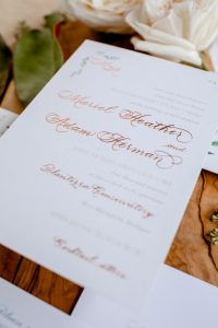 Rose gold foil stamping with traditional calligraphy and greenery for greenhouse wedding - Wedding Invitation Printing Options - Leah E. Moss Designs