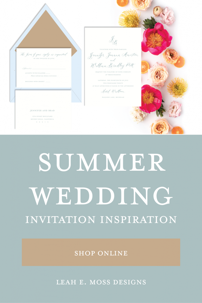 Wedding invitations for every season - summer wedding invitation inspiration so you can shop online to customize your own from Leah E. Moss Designs