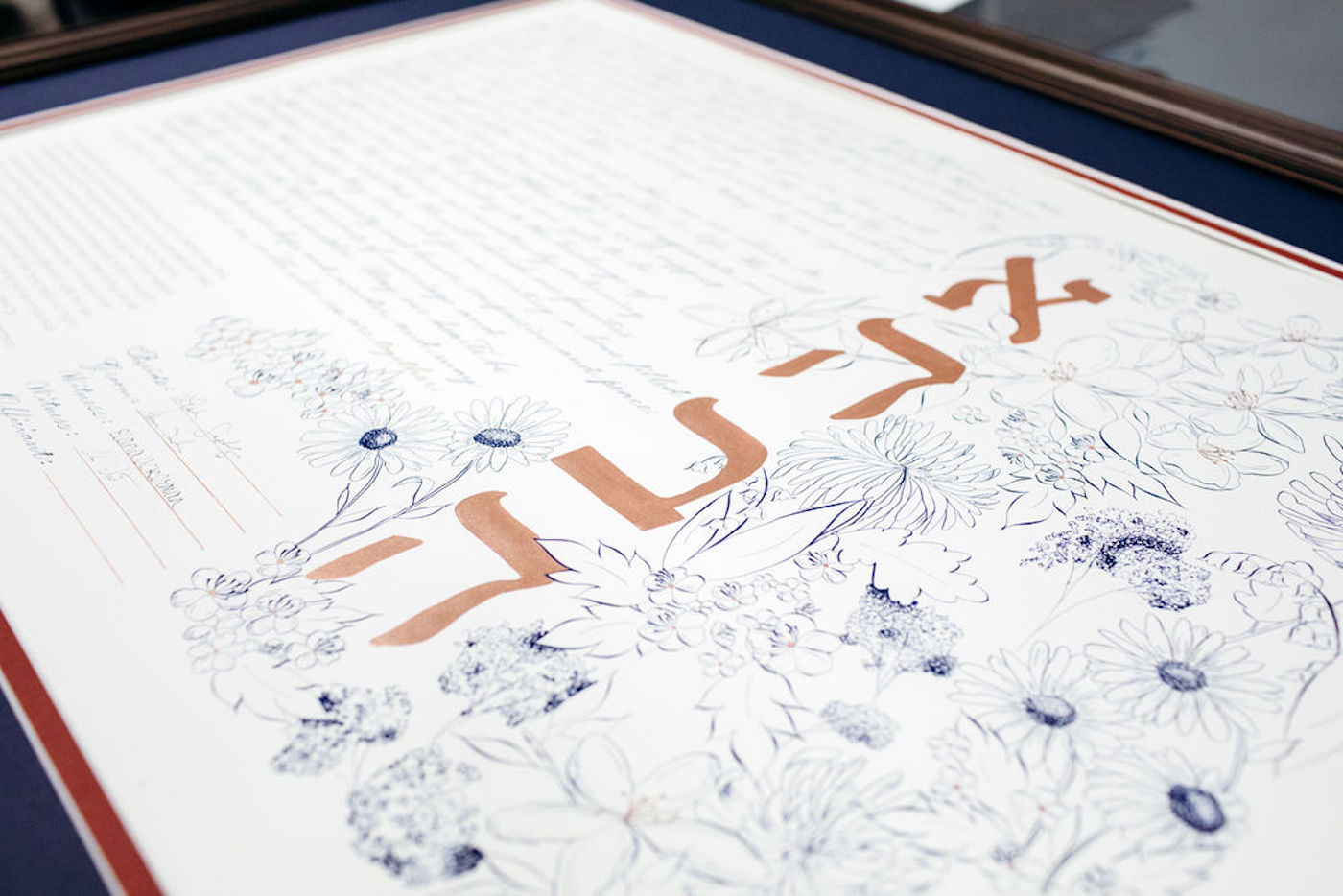 Ketubah, the Jewish marriage contract - custom made with navy and rose gold ink, flowers - how to display art in your house - Leah E. Moss Designs