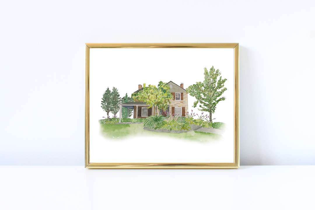 Watercolor home illustration in gold frame - how to display art in your house - Leah E. Moss Designs
