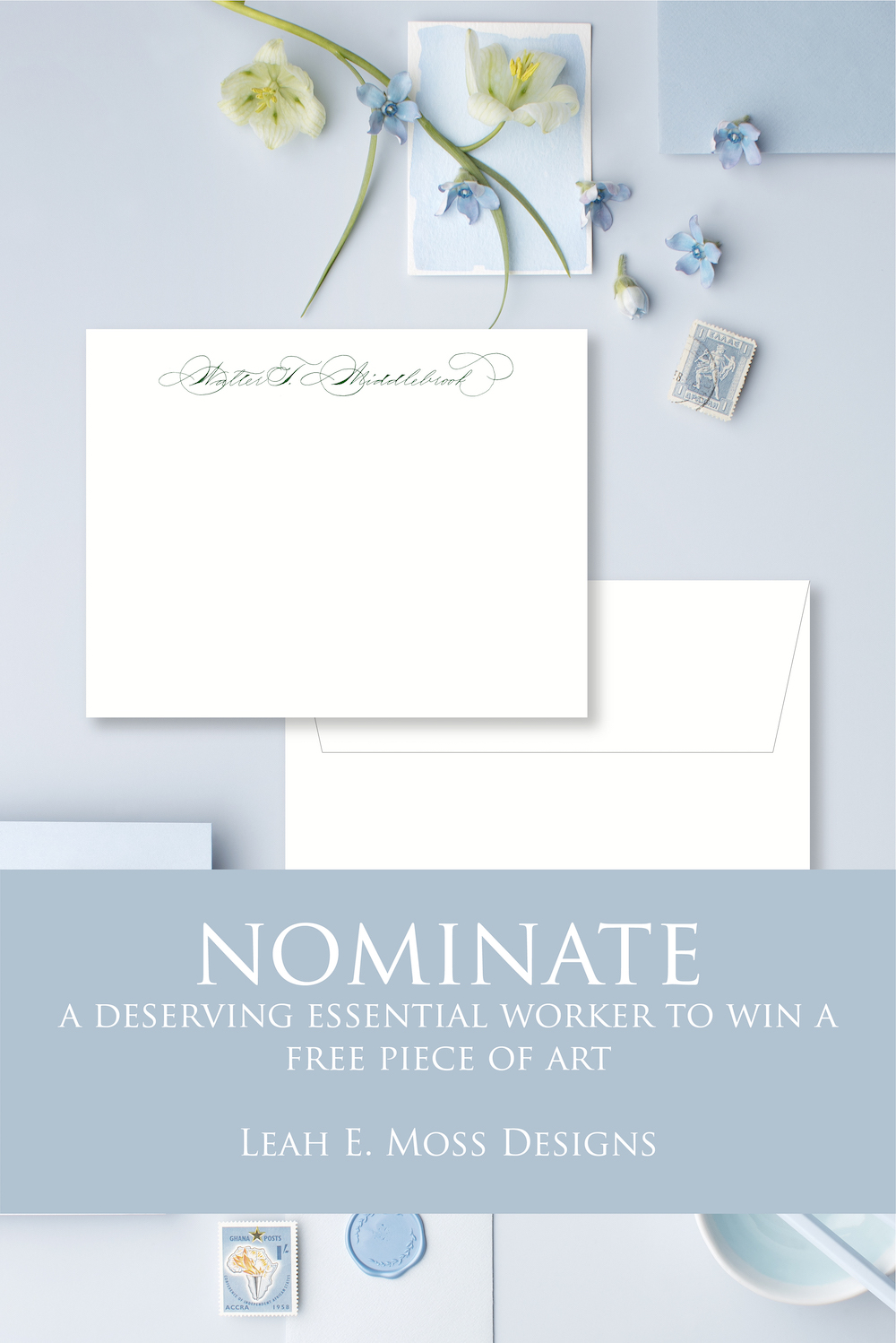 Nominate an essential worker to win free art - Shop for gifts to raise someone's spirits and help get much needed PPE for Detroit hospital - Leah E. Moss Designs