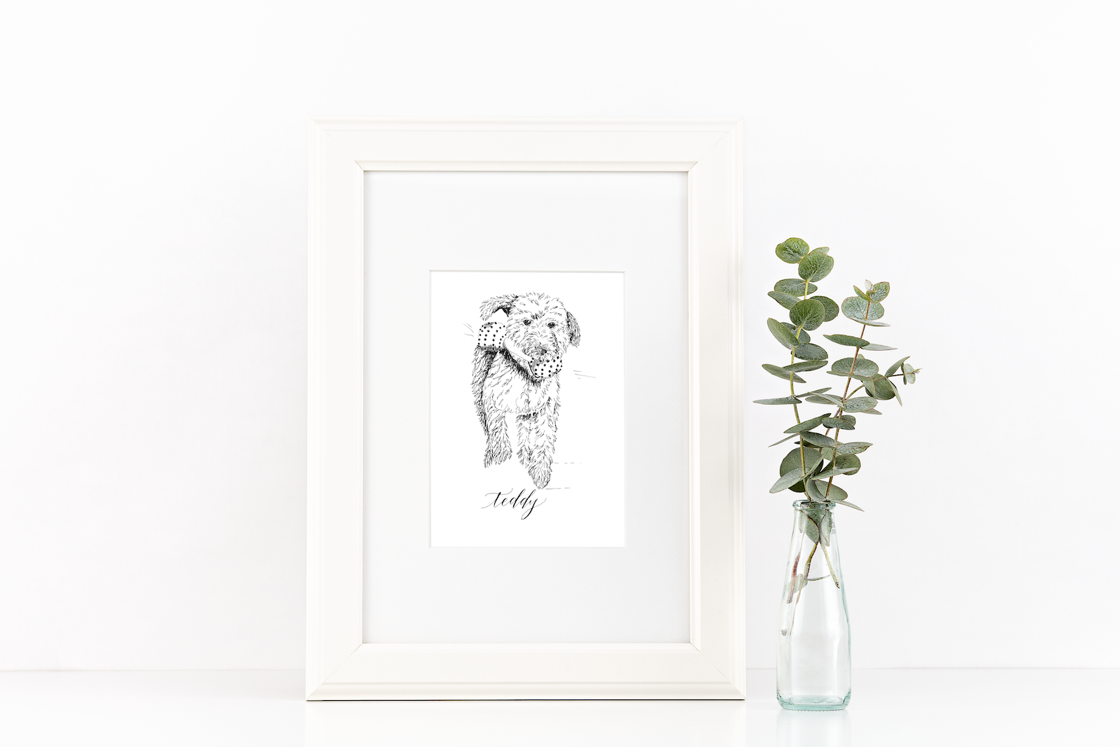 Line drawing of a dog, pet portrait, sketch - how to display art in your house - Leah E. Moss Designs
