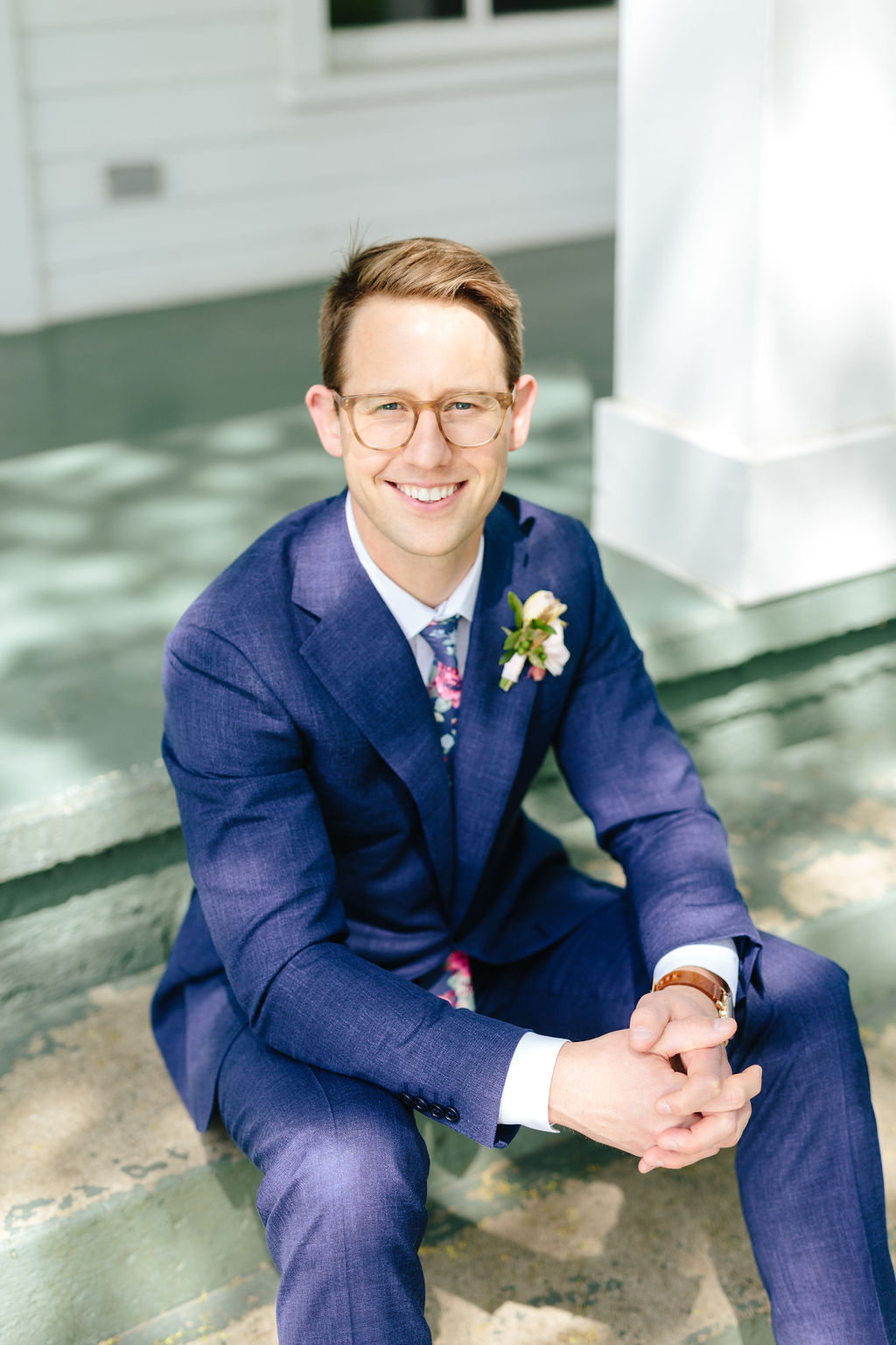 Portrait of groom with glasses - Preppy spring wedding at Zingerman's Cornman Farms - Leah E. Moss Designs - photo by Katie Grace Photography
