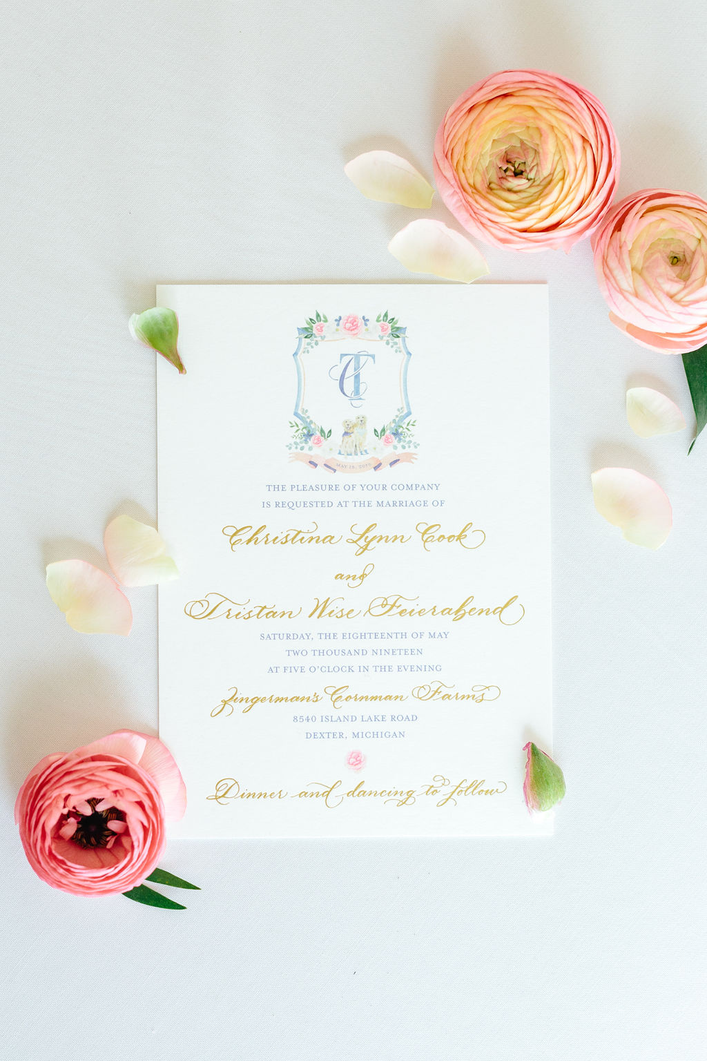 Custom wedding invitation with watercolor flowers and gold foil - Preppy spring wedding at Zingerman's Cornman Farms - Leah E. Moss Designs - photo by Katie Grace Photography