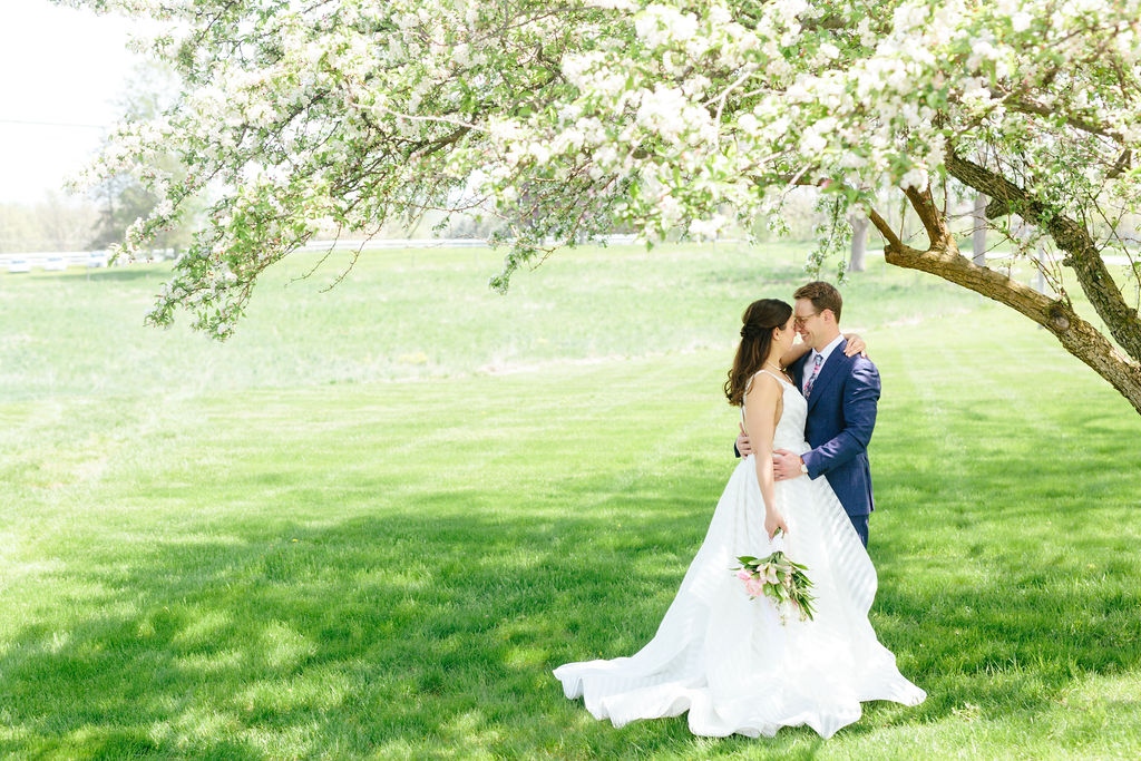 Bride and groom under large tree - Preppy spring wedding at Zingerman's Cornman Farms - Leah E. Moss Designs - photo by Katie Grace Photography