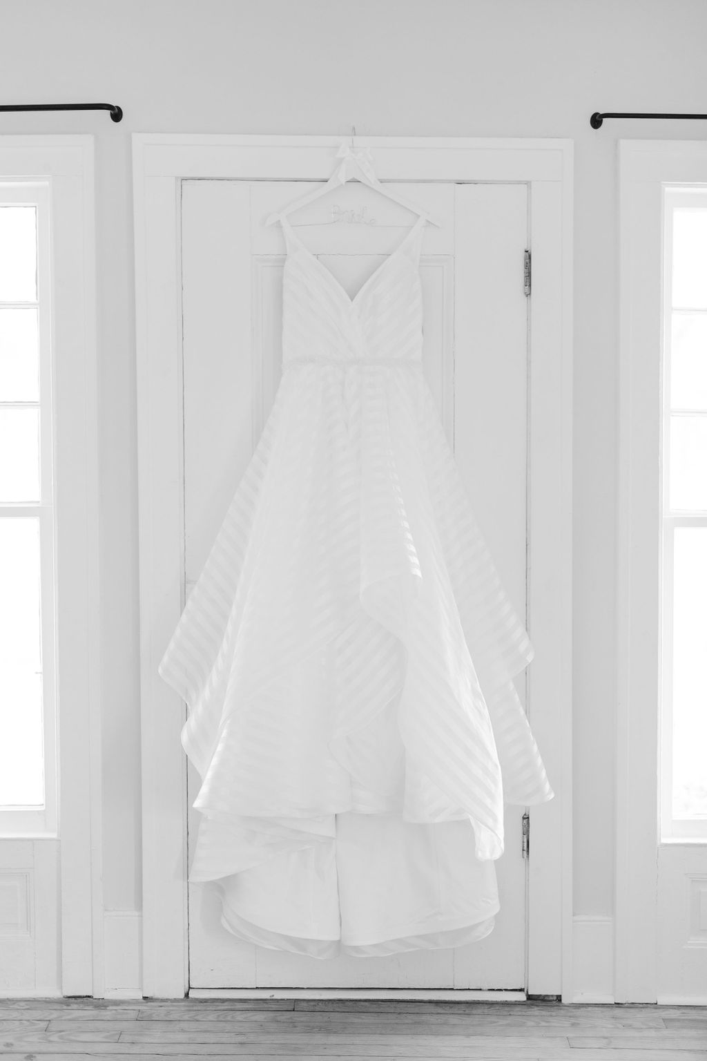 Hayley Paige wedding gown with striped fabric - Preppy spring wedding at Zingerman's Cornman Farms - Leah E. Moss Designs - photo by Katie Grace Photography