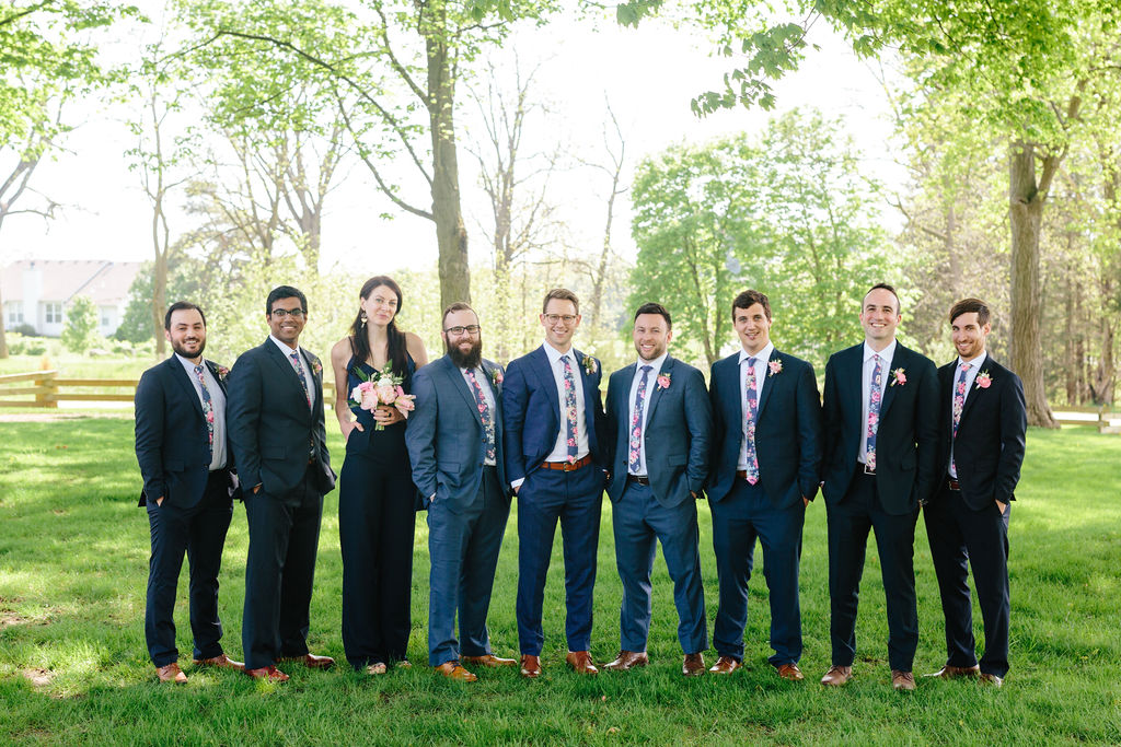 Groomsmen in mismatched suits - Preppy spring wedding at Zingerman's Cornman Farms - Leah E. Moss Designs - photo by Katie Grace Photography