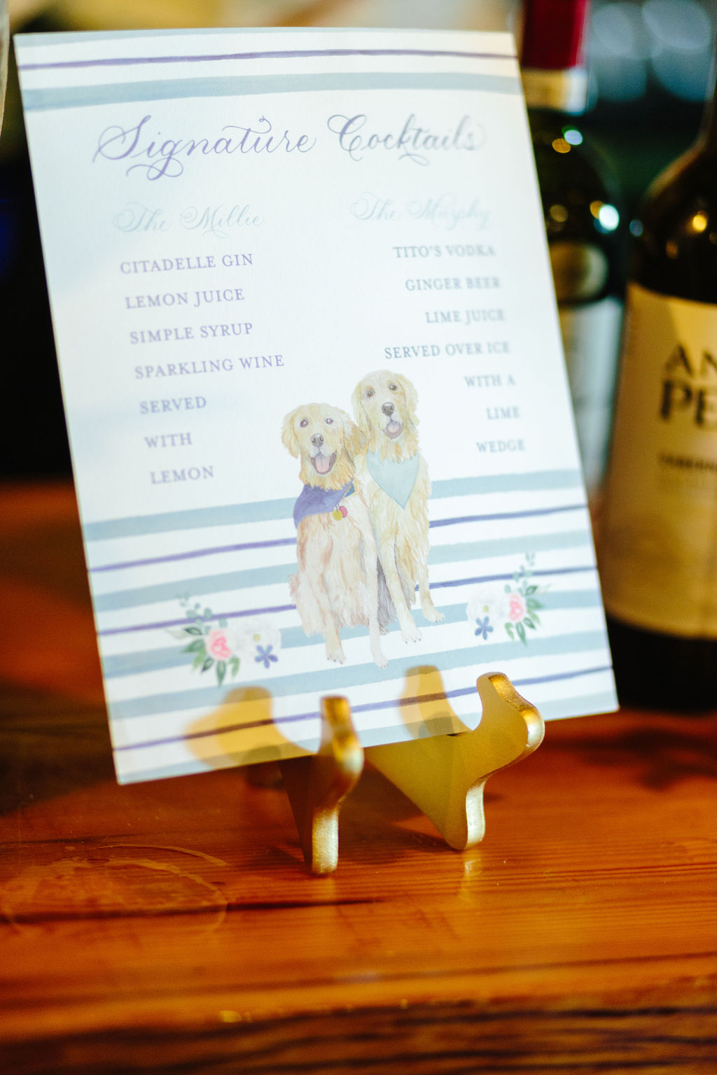 Signature cocktail sign with two dogs - golden retrievers - Preppy spring wedding at Zingerman's Cornman Farms - Leah E. Moss Designs - photo by Katie Grace Photography