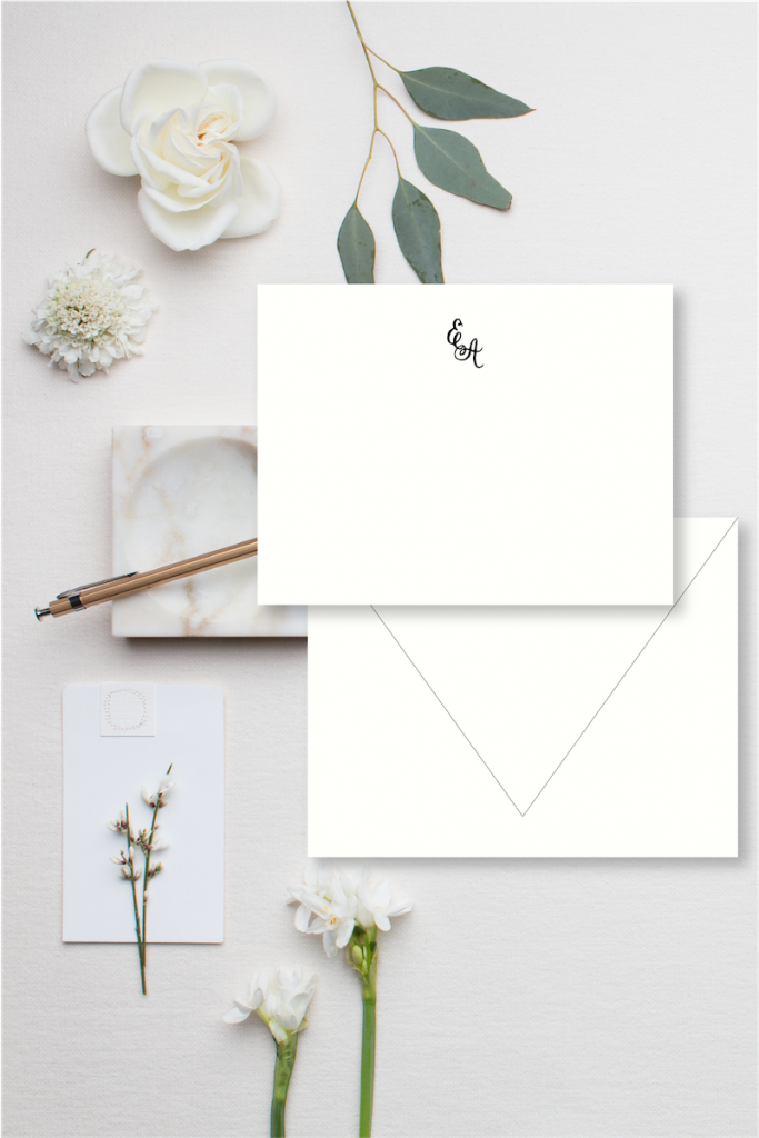 Modern calligraphy monogrammed stationery for wedding - 3 steps to writing wedding thank you notes - Leah E. Moss Designs
