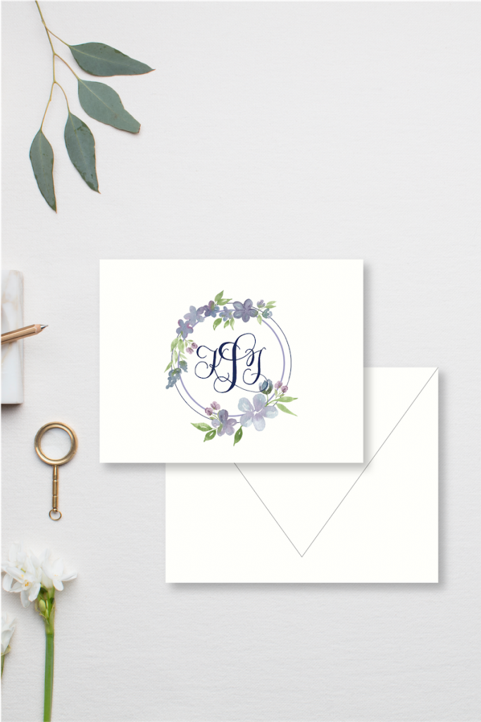 Lavender and pale blue watercolor floral border with hand calligraphy script monogram for wedding - wedding thank you notes - Leah E. Moss Designs