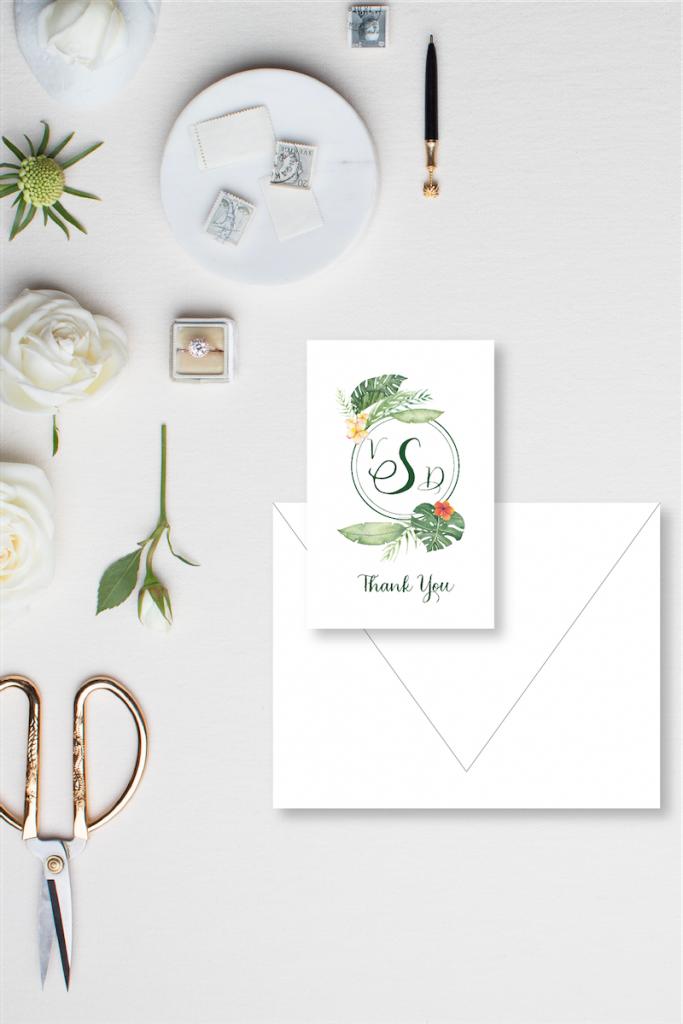 Tropical monogram for destination wedding in Tulum, Mexico - wedding thank you notes - Leah E. Moss Designs