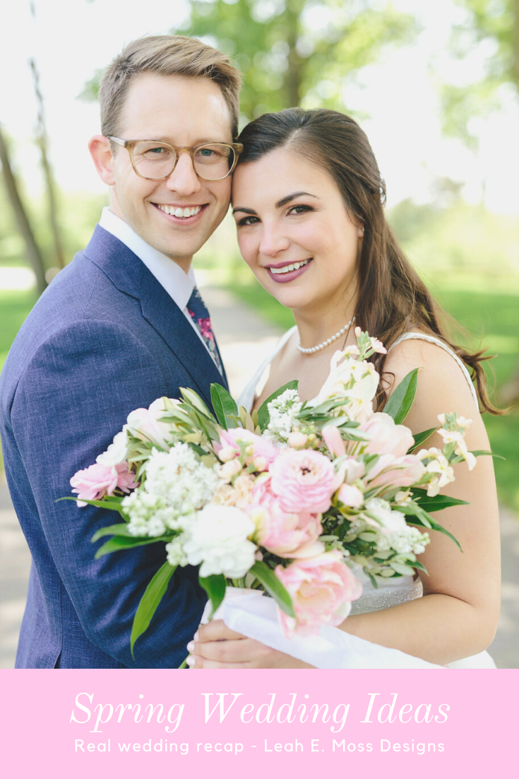 Bride and groom with flower farm hand tied bouquet - Preppy spring wedding at Zingerman's Cornman Farms - Leah E. Moss Designs - photo by Katie Grace Photography