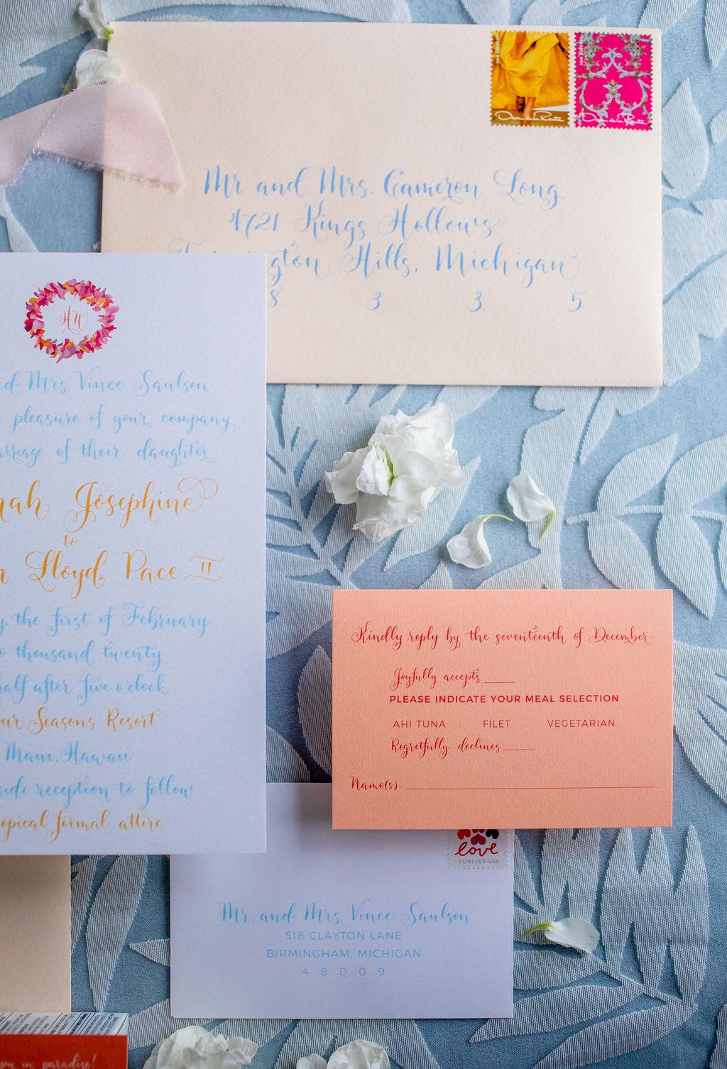 Tropical wedding invitation - Oscar de la Renta stamps - 3 types of wedding invitations postage - Leah E. Moss Designs