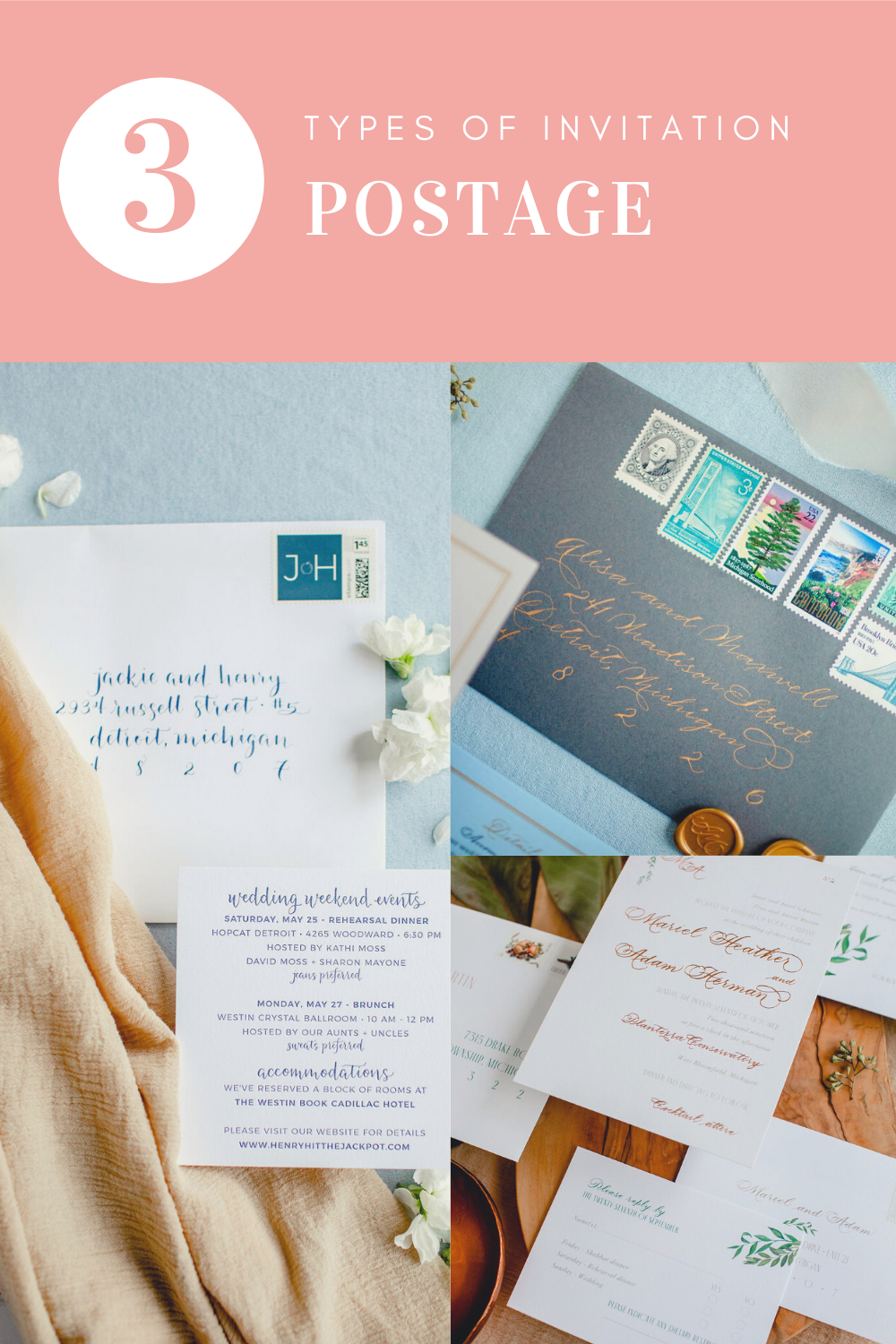 3 types of wedding invitations postage - Leah E. Moss Designs