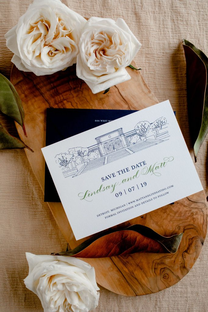 Save the date with venue illustration of Detroit Institute of Arts - Wedding stationery checklist - Leah E. Moss Designs - photo by Casey Brodley