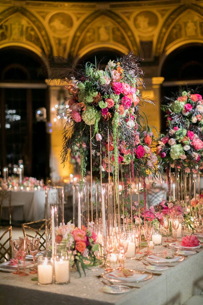 Tall and bright centerpiece with colored stemware for wedding table design - Wedding Stationery Tips - Leah E. Moss Designs - Erika Delgado Photo
