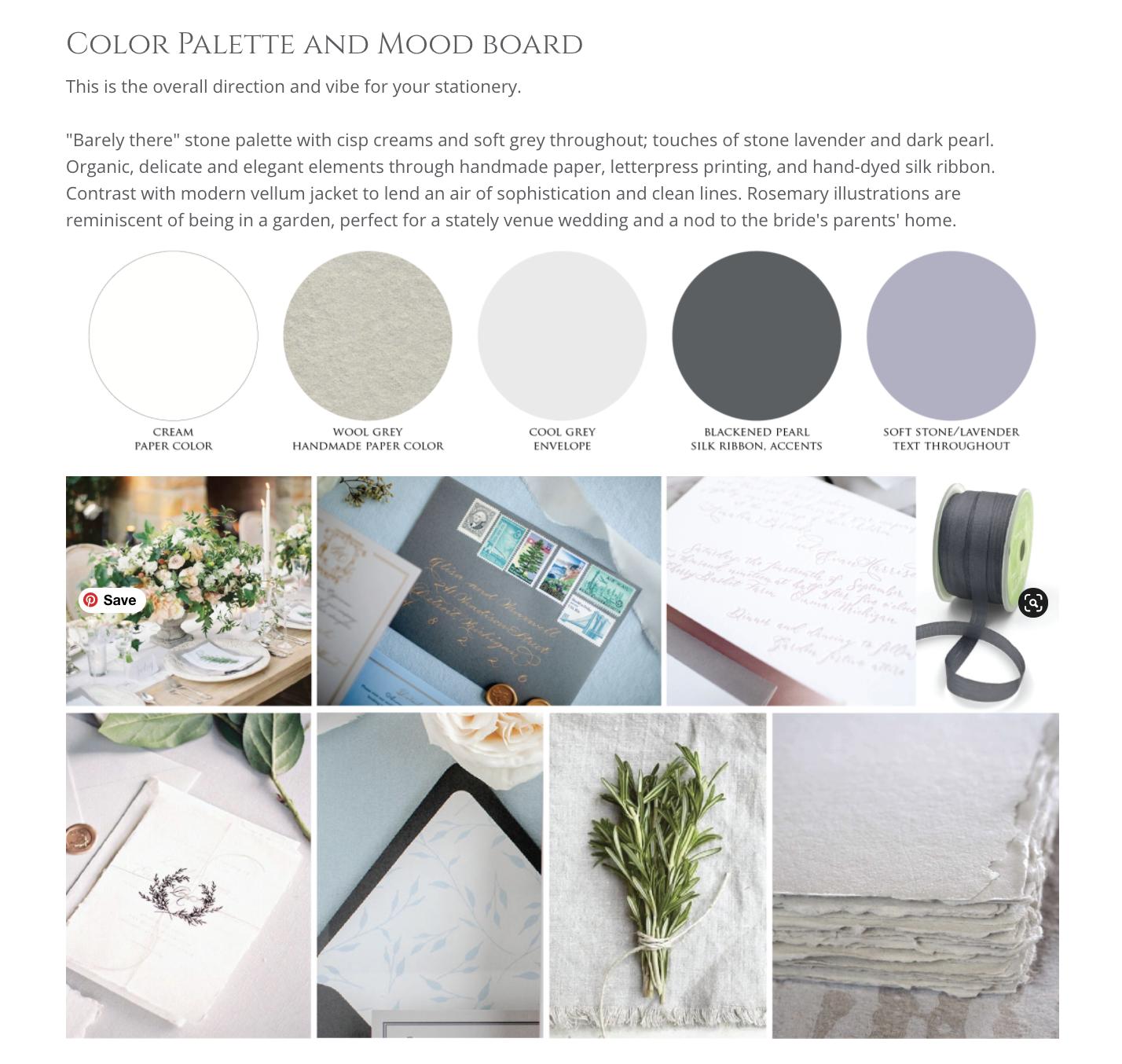 Custom lookbook and mood board for wedding invitations - Custom stationery process - Leah E. Moss Designs